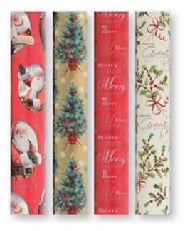 20m Traditional Gold & Red Xmas Christmas Present Wrapping Paper 4 x 5m Rolls